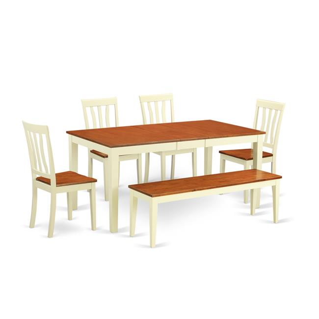 Table & Chair Set - Kitchen Table & 4 Chairs Together with a Bench, Buttermilk & Cherry - 6 Piece