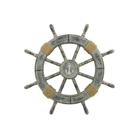 Rustic Whitewashed Decorative Ship Wheel With Anchor 18