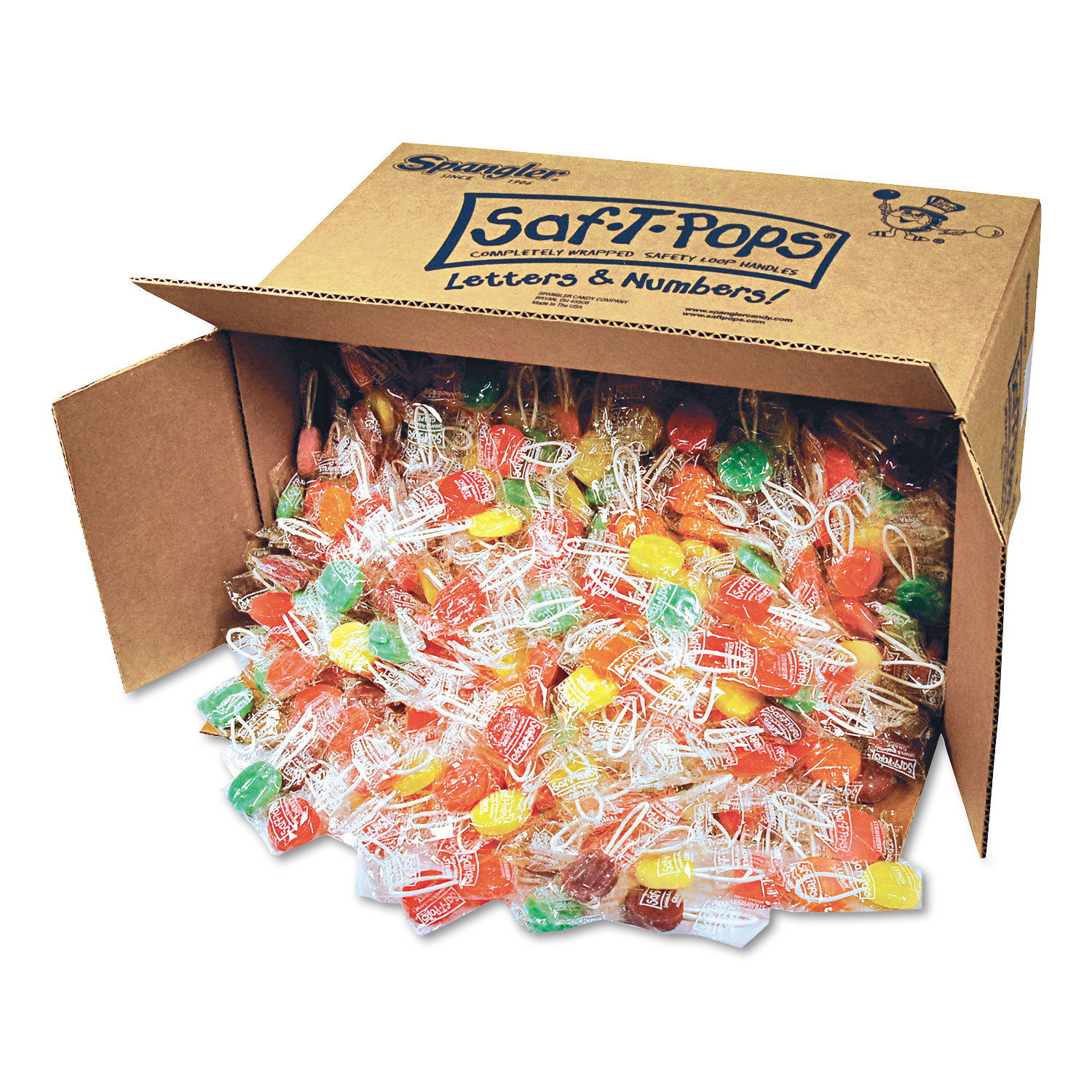 Spangler Saf-T-Pops Individually Wrapped Assorted Flavor Lollipops, 25 lbs