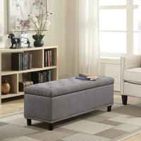"Belleze 48"" Rectangular Faux Leather Storage Ottoman Bench Footrest, Large Space Footrest, Brown"