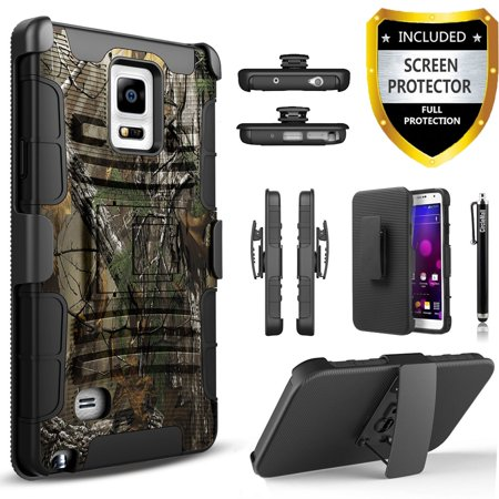 Galaxy Note 4 Case, Dual Layers [Combo Holster] Case And Built-In Kickstand Bundled with [Premium Screen Protector] Hybird Shockproof And Circlemalls Stylus Pen For Samsung Galaxy Note 4 (Camo)