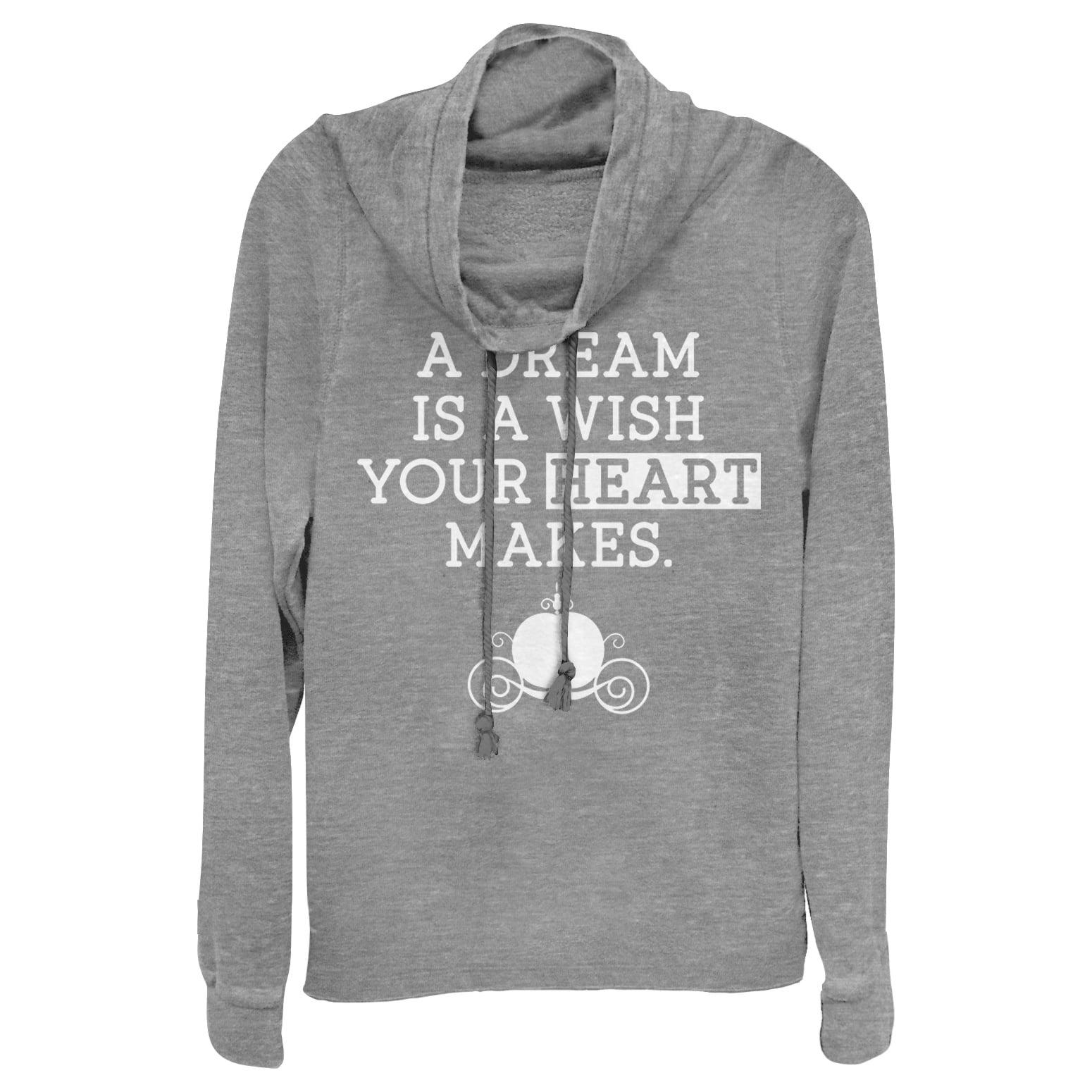 Cinderella Juniors' A Dream Is a Wish Your Heart Makes Cowl Neck Sweatshirt