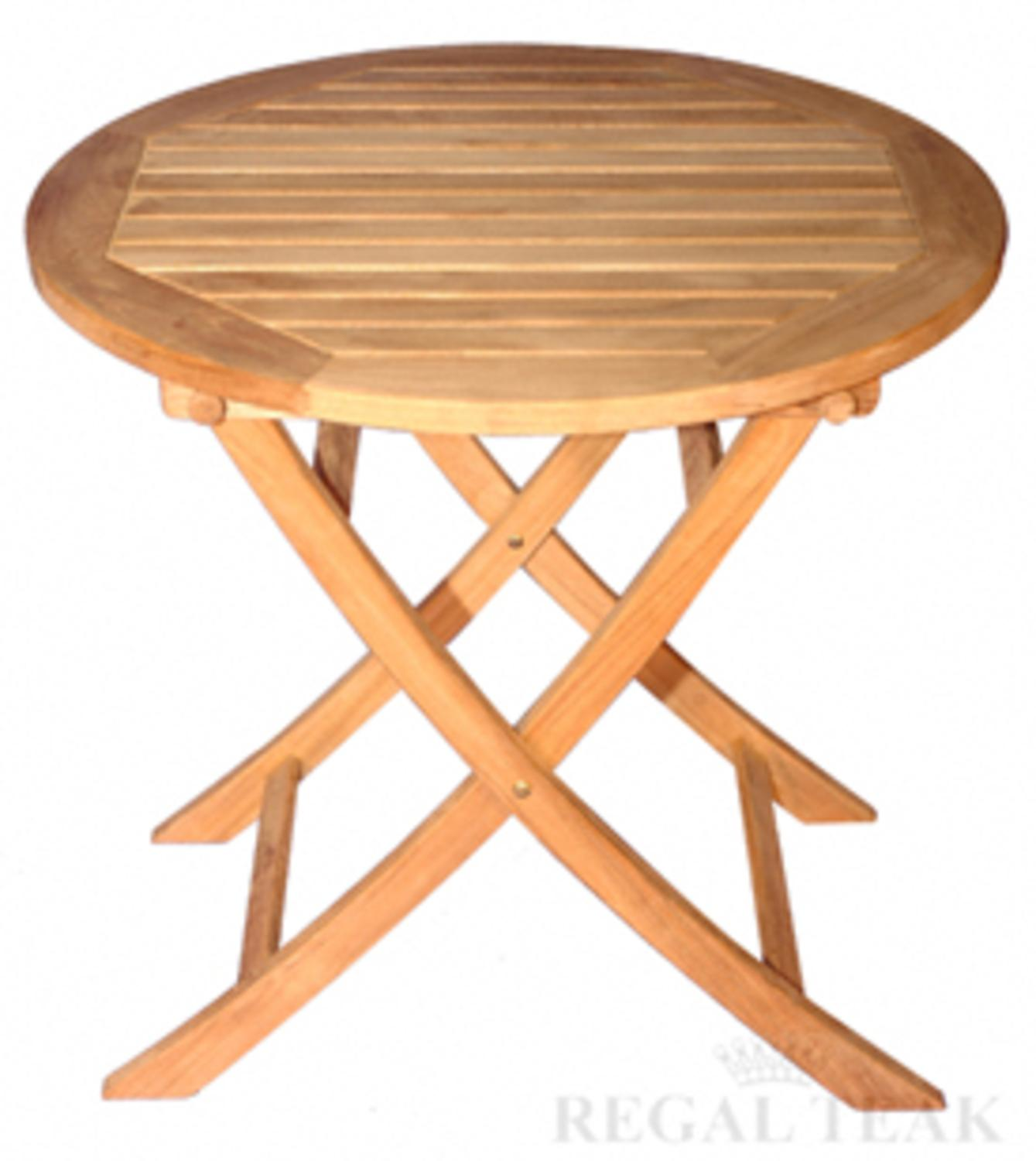 """30"""" Natural Teak Round Outdoor Patio Dining Wooden Balcony Folding Table"""