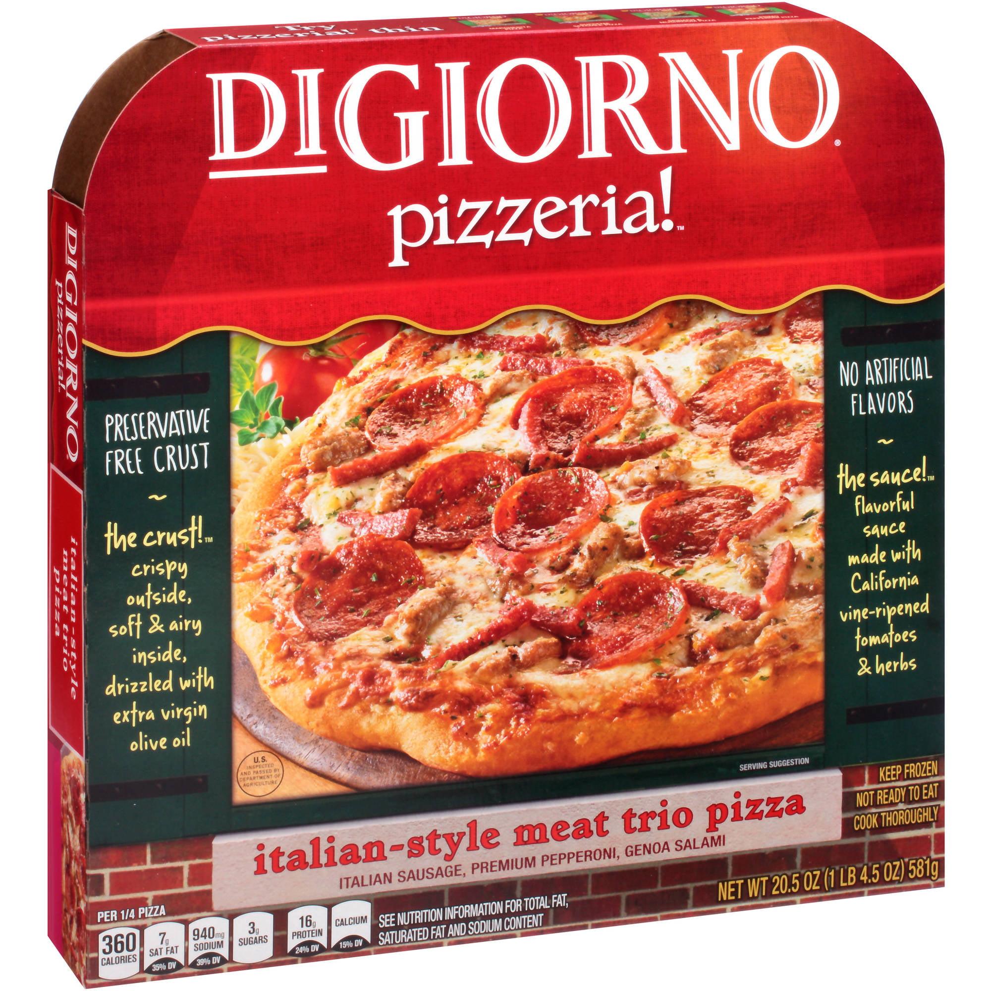 DIGIORNO PIZZERIA! Italian Style Meat Trio Pizza 20.5 oz. Box