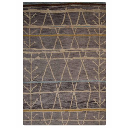 Rugsotic Carpets Hand Knotted Wool 6'x9' Area Rug Contemporary Brown N00906