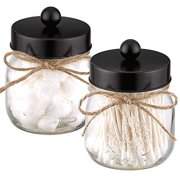 Mason Jar Bathroom Apothecary Jars Set, Farmhouse Decor Qtip Dispenser Holder Glass - Rustic Vanity Organizer with Stainless Steel Lids for Cotton Swabs, Rounds, Bath Salts, Ball / Black, 2-Pack