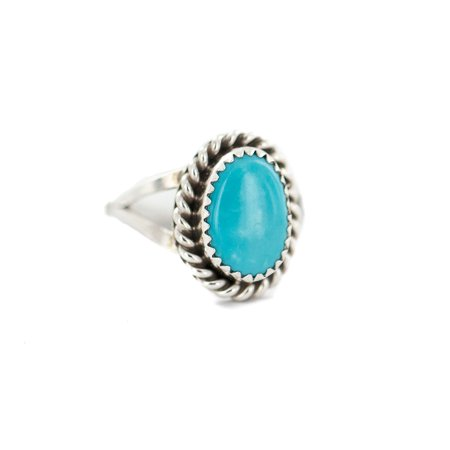 .925 Sterling Silver Navajo Certified Authentic Handmade Natural Turquoise Native American Ring Size 6