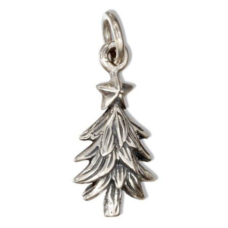 Christmas Tree Star Charm - STERLING SILVER CHRISTMAS TREE CHARM WITH STAR