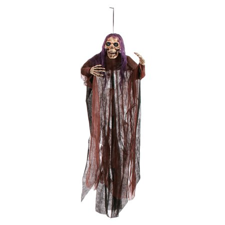 60 inch Grim Reaper with Shroud Adult Decoration Purple/Brown - Grim Reaper Decorations