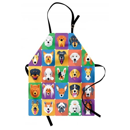 Dog Apron Dog Breeds Profiles Pets Shepherd Terrier Labrador Domestic Animals Illustration, Unisex Kitchen Bib Apron with Adjustable Neck for Cooking Baking Gardening, Purple Green, by Ambesonne