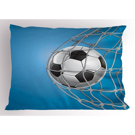 Sam Football - Soccer Pillow Sham Goal Football in Net Entertainment Playing for Winning Active Lifestyle, Decorative Standard Size Printed Pillowcase, 26 X 20 Inches, Blue Pale Grey Black, by Ambesonne