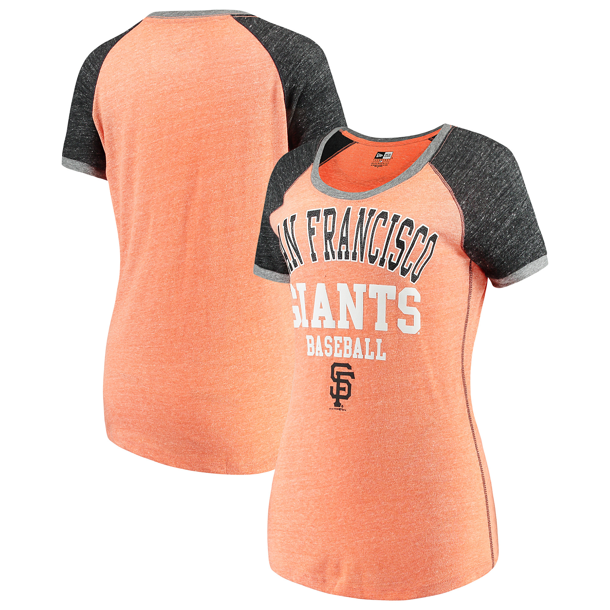 San Francisco Giants 5th & Ocean by New Era Women's Jersey Tri-Blend Raglan T-Shirt - Orange