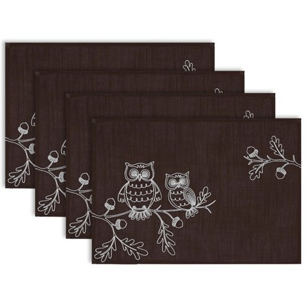DII Polyester Placemat, Set of 4, Embroidered Owls - Perfect for Fall, Thanksgiving, Friendsgiving and Dinner Parties