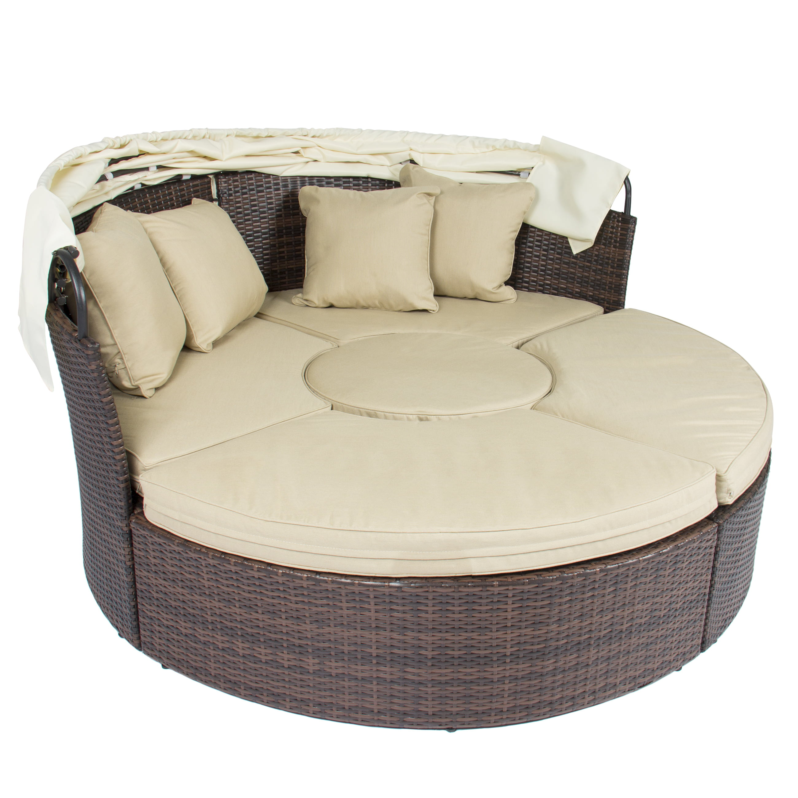 Outdoor Patio Sofa Furniture Round Retractable Canopy Daybed Brown Wicker  Rattan   Walmart.com