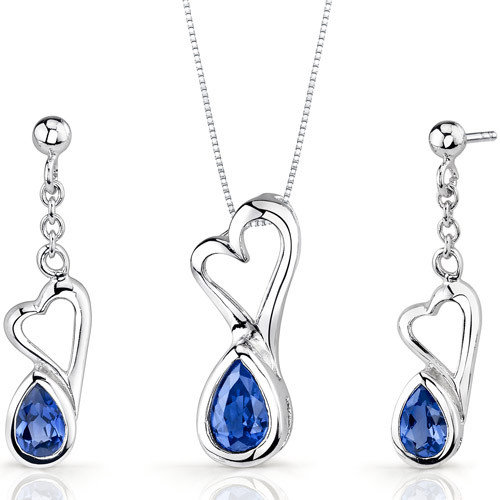 Oravo Heart Design 2 Carats Pear Shape Sterling Silver Sapphire Pendant Earrings Set