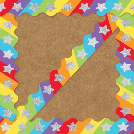 Decorative Sparkle and Shine Glitter Stars On Rainbow Scalloped Borders Rainbow Star Sparkle