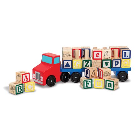 Alphabet Newborn Baby Blocks (Melissa & Doug Alphabet Blocks Wooden Truck Educational Toy)