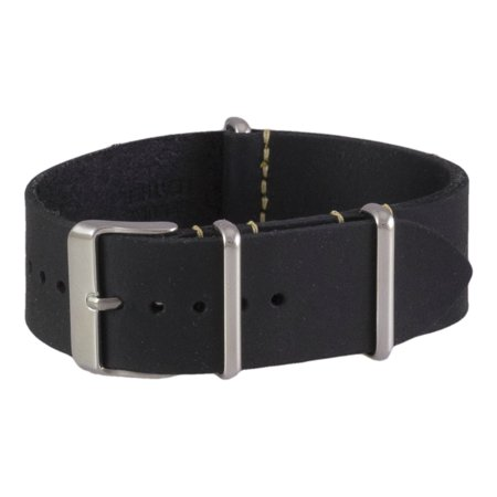 Black Oiled Leather NATO Watchband (18, 20, 22 & 24mm)