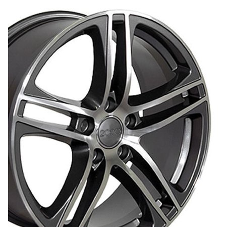 - 17x7.5 Wheel Fits Audi, Volkswagen - R8 Style Gunmetal Rim with Machined Face - SET