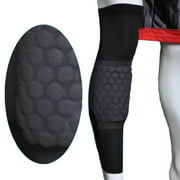 Image Size M Basketball Knee Pad Long Leg Sleeve Honeycomb Protective Gear Black