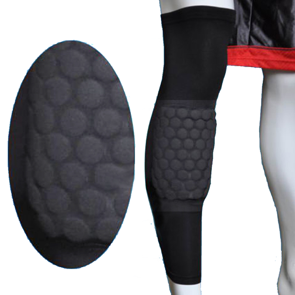 Image Size L Basketball Knee Pad Long Leg Sleeve Honeycomb Protective Gear Black
