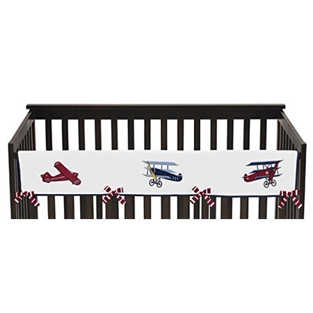 Vintage Aviator Long Front Rail Guard Baby Boy Teething Cover Protector Crib WrapThis design has matching accessories such as window treatments, hampers, shower.., By Sweet Jojo Designs