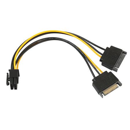Micelec 7 Inch 6 Pin PCI to Dual SATA 15 Pin Express Card