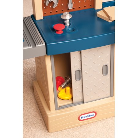 Little Tikes Tough Workshop - Toddler Workbench Pretend Play Set for Kids 2+ Years