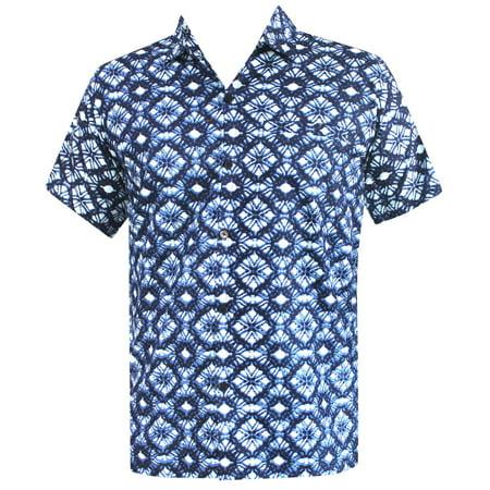 Hawaiian Shirt Mens Beach Aloha Camp Party Casual Holiday Short Sleeve Zig Zag Print (Cotton Mens Aloha Shirt)