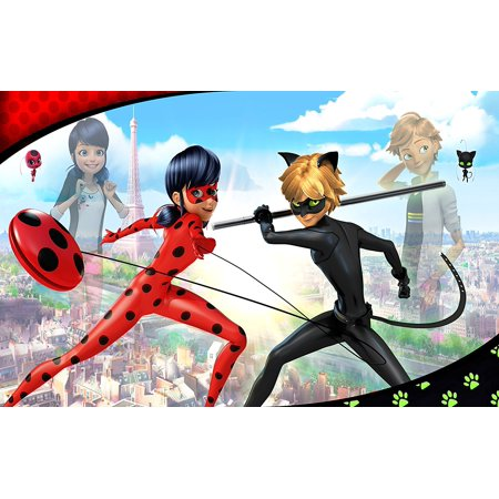 MIRACULOUS LADYBUG CAT NOIR Edible Cake Topper for 1/4 ...