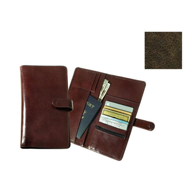 Raika VI 117 BROWN Deluxe Travel Wallet with Snap Closure Brown
