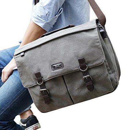 322c440a100f OXA Military Satchel Messenger Bag - Vintage Canvas Shoulder Bag for 15.6  Inch Laptop