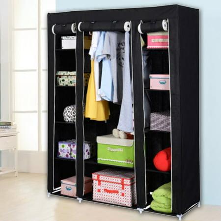 (53'' Portable Closet Wardrobe Clothes Rack Storage Organizer With Shelf Black Closet)