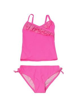 22c5753078f64 Product Image OP Little Girls Fuchsia Solid Color Ruffle Trim 2 Pc Tankini  Swimsuit
