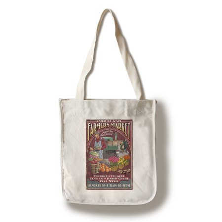 Portland, Oregon - Farmers Market Vintage Sign - Lantern Press Artwork (100% Cotton Tote Bag - (Cotton Market Tote)