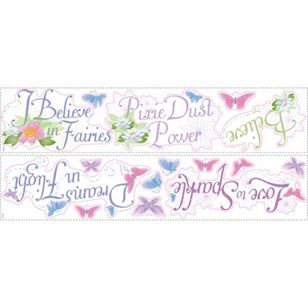 RoomMates Disney Fairies Phrases Peel and Stick Wall Decal