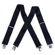 HDE Men's Heavy Duty Work Suspenders X-Back Utility Braces 2 Inch Wide Brown