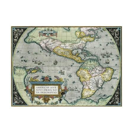 Americae Sive Novi Orbis, Nova Descriptio Map by Abraham Ortelius Print Wall Art