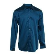 INC NEW Blue Mens Large L Non-Iron Woven Slim Fit Button-Front Shirt $59