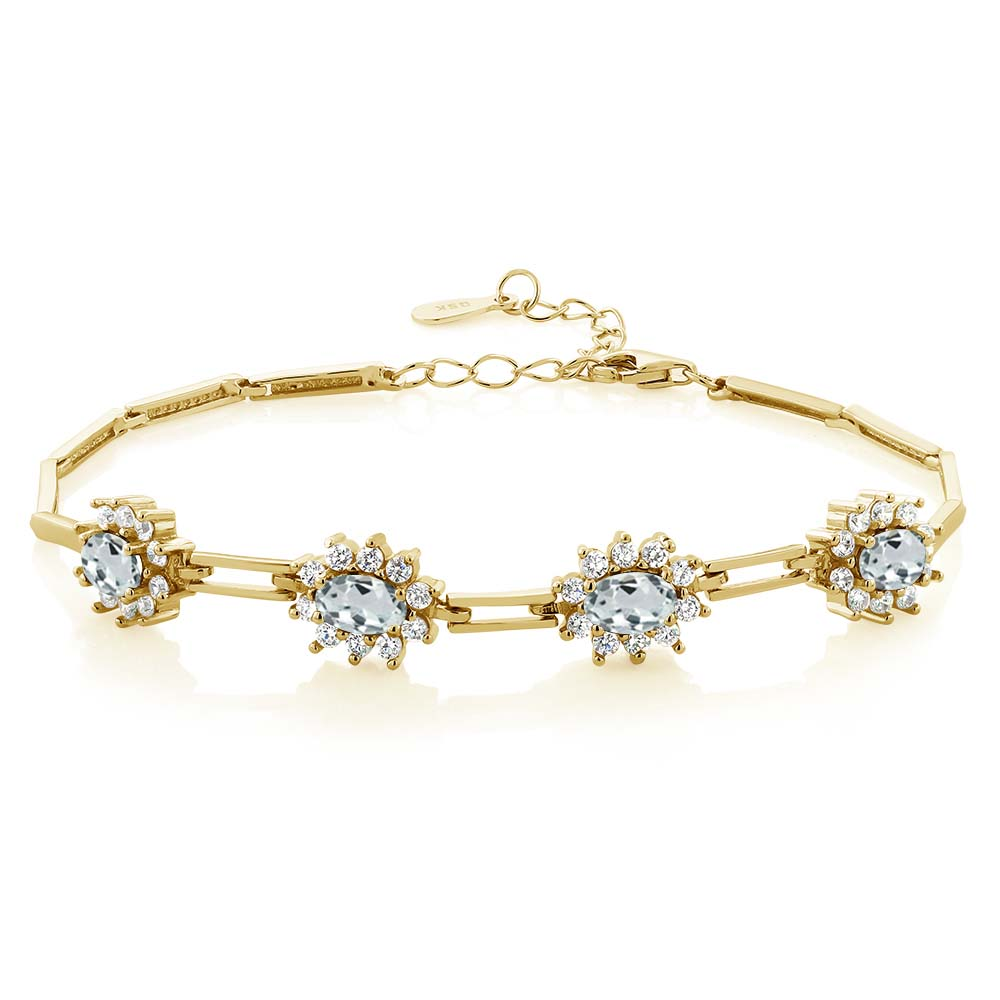 3.72 Ct Sky Blue Aquamarine 18K Yellow Gold Plated Silver Bracelet by