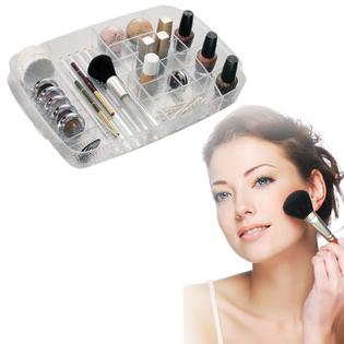 Serene Cosmetic Bathroom Vanity Drawer Organizer Tray, Clear Acrylic Compact Makeup