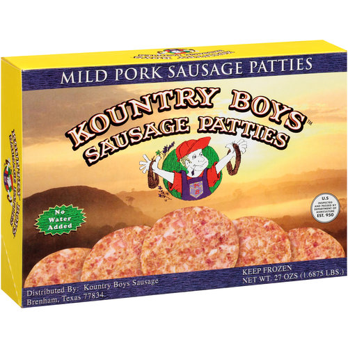 Kountry Boys Sausage Mild Pork Sausage Patties, 27 oz