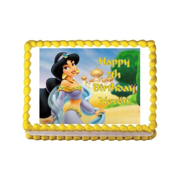 Cool Aladdin Jasmine Disney Agrabah Trees Edible Cake Topper Image Funny Birthday Cards Online Elaedamsfinfo