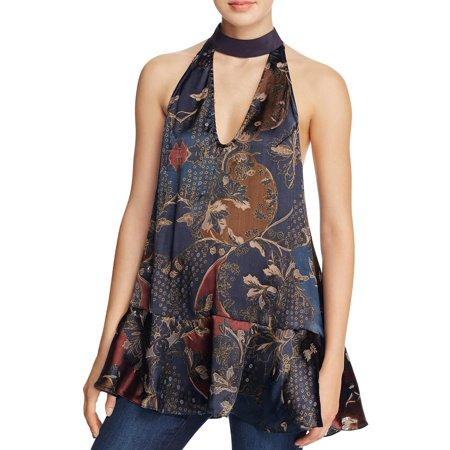 Free People Womens Silk Blend Printed Blouse