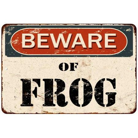 Beware of Frog Vintage Look Reproduction Metal Sign 8x12 8123454 ()