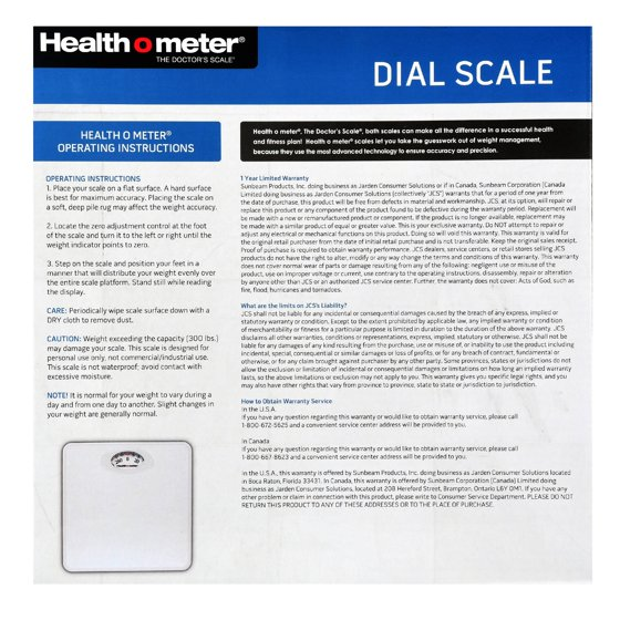 Health O Meter Dial Scale White Walmart