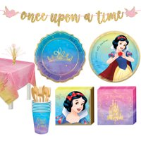 Party City Disney Princess Snow White Tableware Supplies for 8 Guests, Includes Cups, Cutlery, Napkins, Plates, Decor