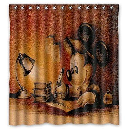Ganma Mickey Mouse Shower Curtain Polyester Fabric Bathroom Shower Curtain 66x72 -
