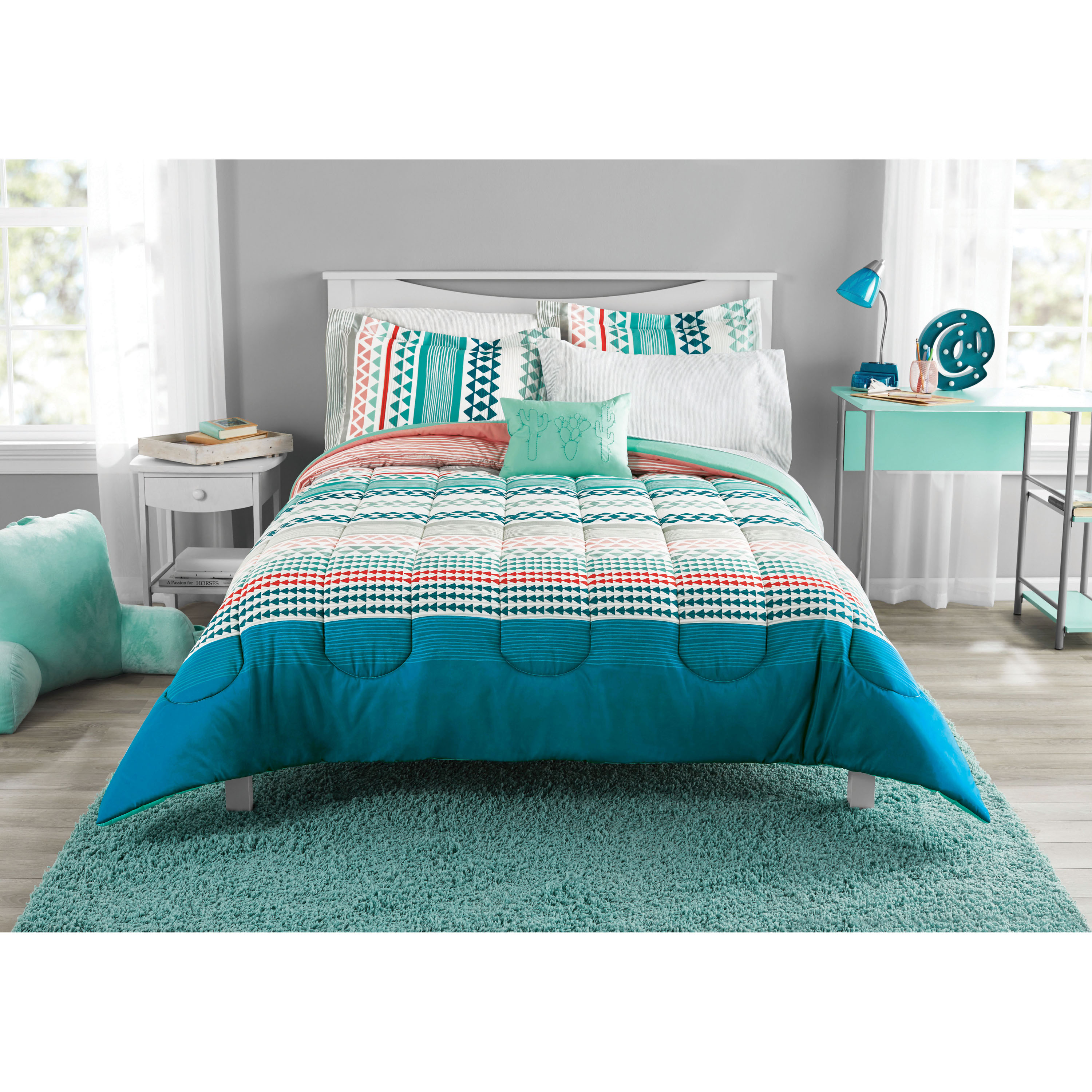 Mainstays Multi Geo Bed in a Bag Coordinating Bedding Set, King