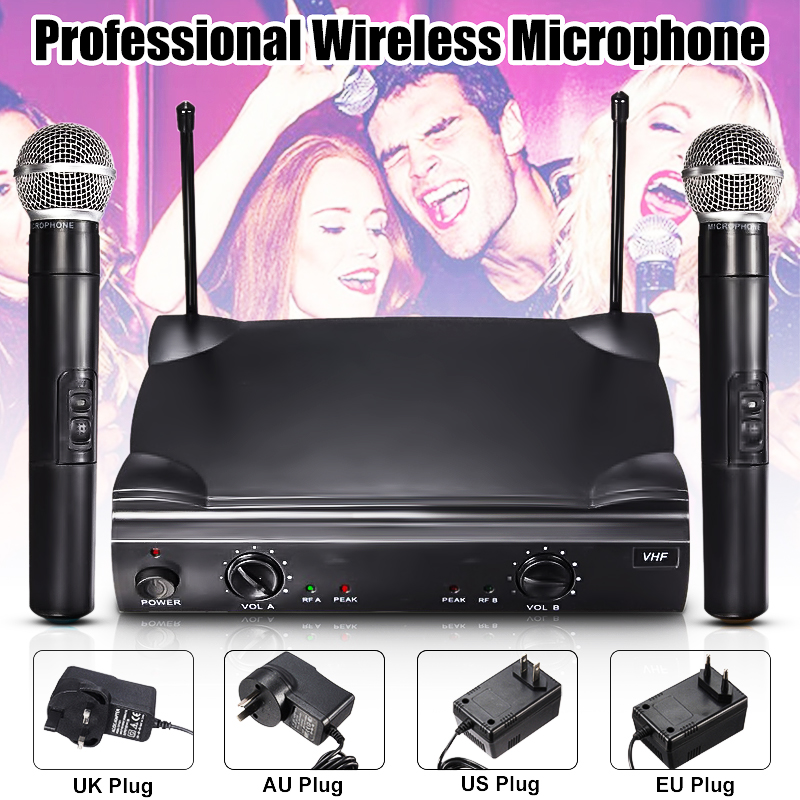 Professional Dual 2-Channel VHF Wireless Cordless Handheld Microphone Mic System Kareoke with Selectable Frequencies